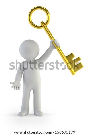 3d small people - golden key - stock photo