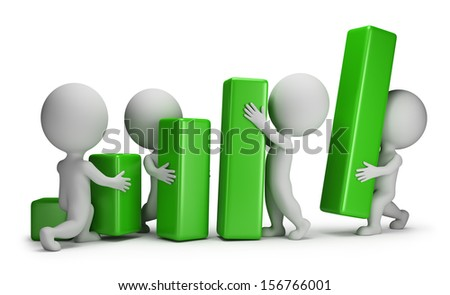 3d small people - group of people putting blocks Statistics. 3d image. White background. - stock photo