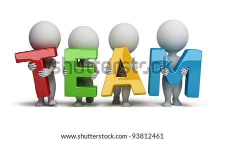 "3d small people holding hands in the word ""team"". 3d image. Isolated white background. - stock photo"