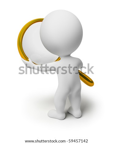 3d small people holds a magnifier. 3d image. Isolated white background. - stock photo