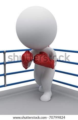 3d small people in boxing gloves standing in a corner of the ring. 3d image. Isolated white background. - stock photo