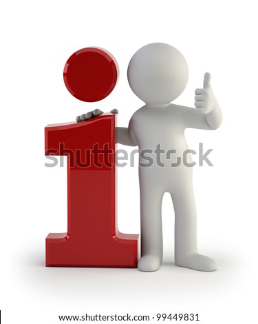 3d small people - info icon - stock photo