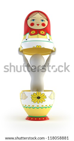 3d small people - inside Russian dolls - stock photo