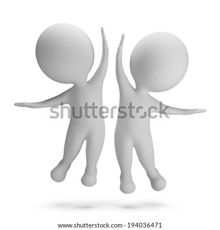 3d small people jumping for joy. High-five. 3d image. White background.