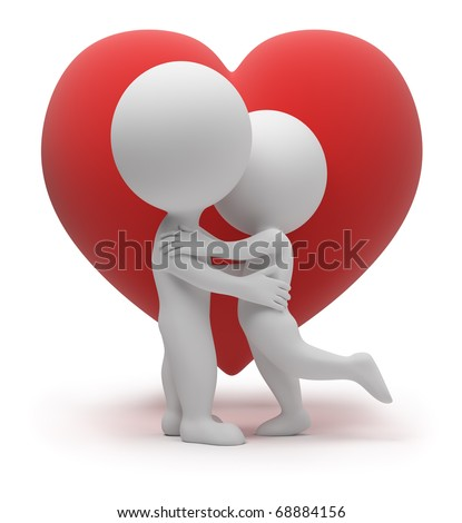 3d small people kiss. Red heart. 3d image. Isolated white background. - stock photo