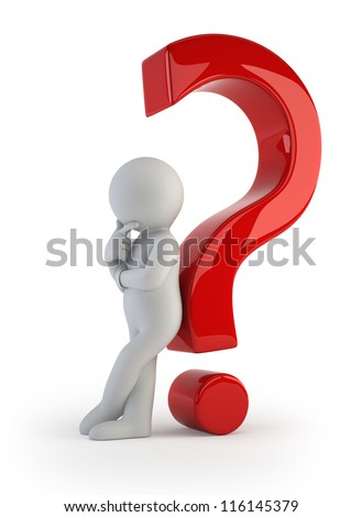 3d small people - leaning back against a question mark - stock photo