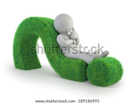 3d small people - lying on a green question mark - stock photo