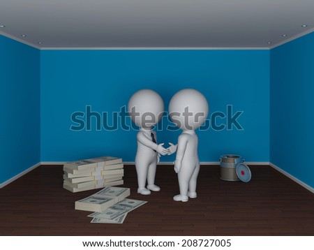 3d small people making deal. Real estate concept. - stock photo