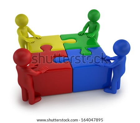 3d small people - Males with four puzzle together - stock photo