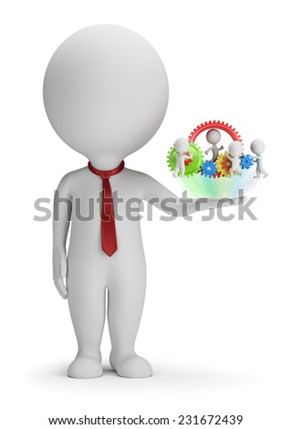 3d small people - manager and his team on the palm. 3d image. White background. - stock photo