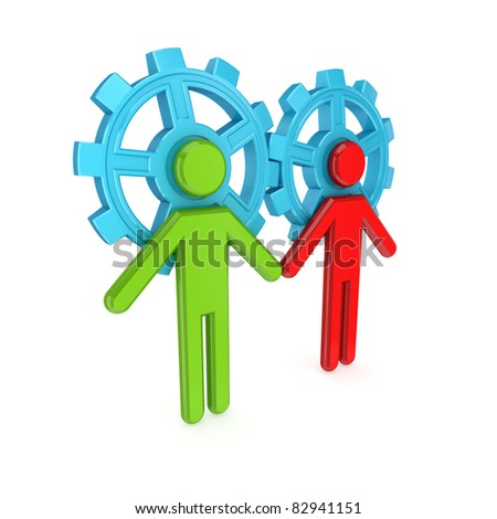3d small people merged with a blue gears. Teamwork concept. 3d rendered. Isolated on white background. - stock photo