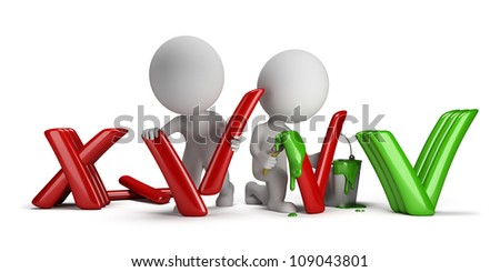 3d small people modify the negative signs in the positive. 3d image. Isolated white background. - stock photo