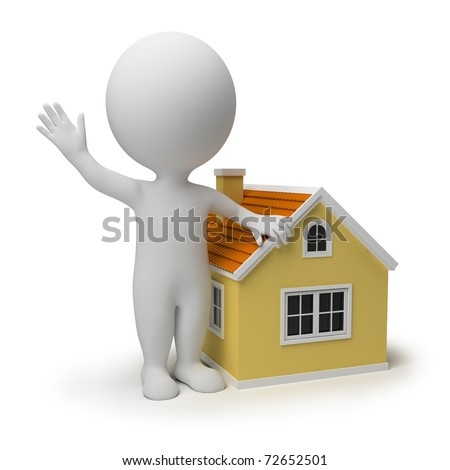 3d small people near to the small house. 3d image. Isolated white background. - stock photo