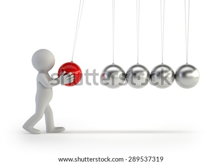 3d small people - Newtons cradle - stock photo