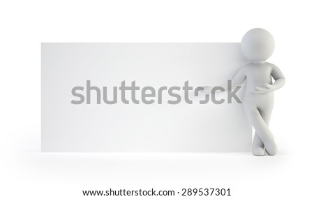 3d small people - next to an empty board - stock photo