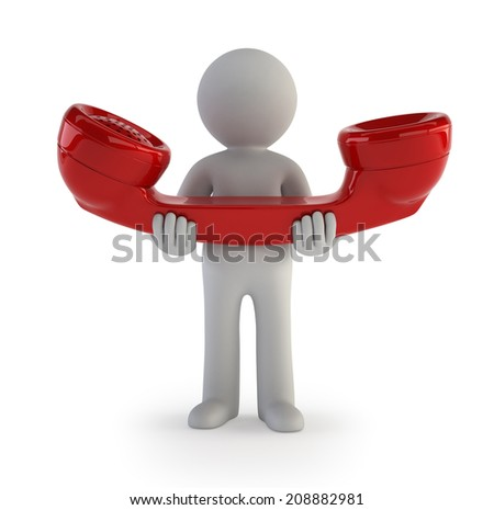 3d small people - phone call - stock photo