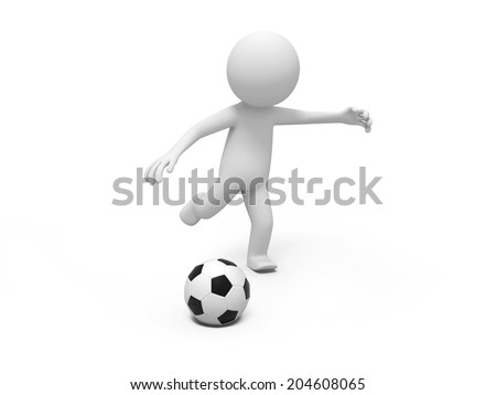 3d small people playing football ball Isolated on White Background - stock photo