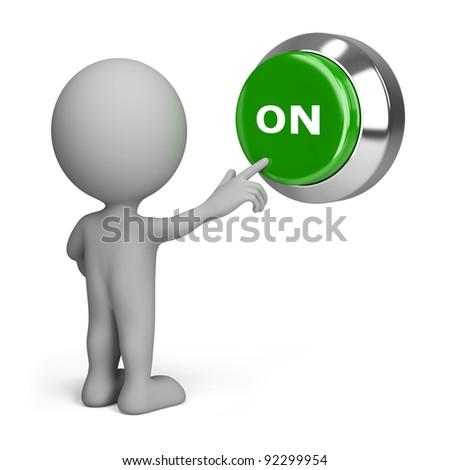 3d small people pressing the green button to include. 3d image. Isolated white background. - stock photo