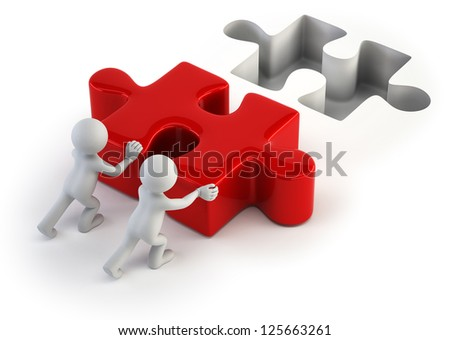 3d small people - push puzzle - stock photo