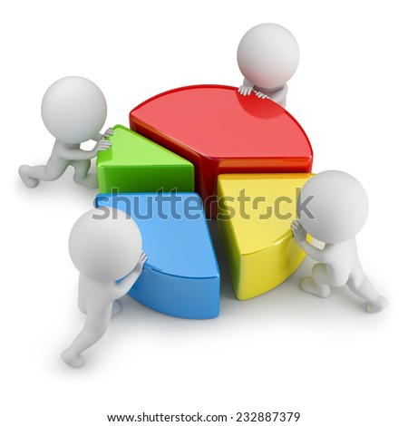 3d small people pushing dividing statistics. 3d image. White background.