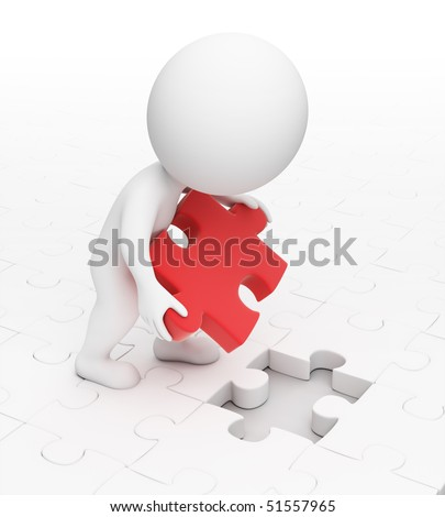 3d small people puts a missing puzzle in a cell. 3d image. Isolated white background. - stock photo