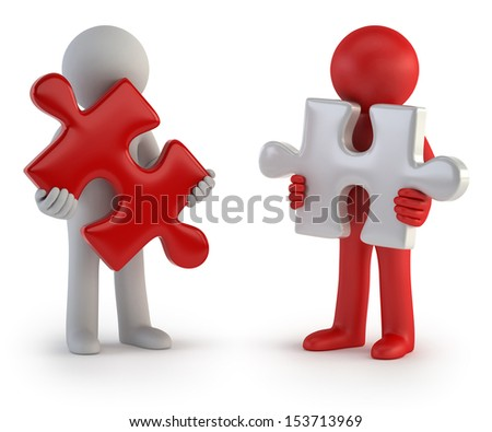 3d small people - Puzzle Teamwork - stock photo