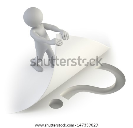 3d small people - question below the page - stock photo