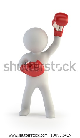 3d small people - red boxing gloves - stock photo