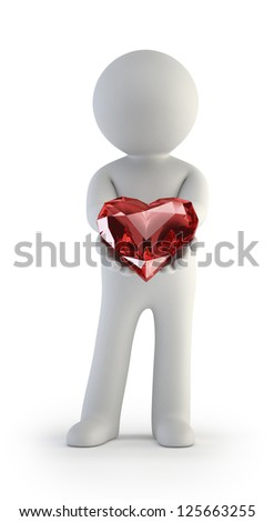 3d small people - Red heart in hands - stock photo