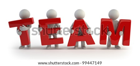 3d small people - red team - stock photo