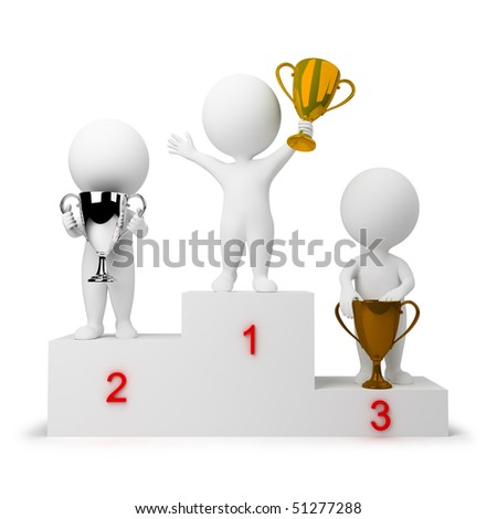 3d small people - rewarding of winners. 3d image. Isolated white background. - stock photo