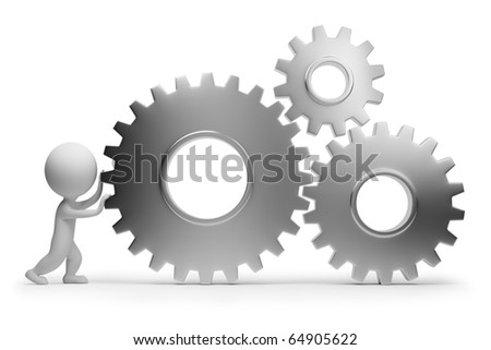 3d small people rolls gears. 3d image. Isolated white background. Clipping path included. - stock photo