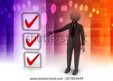 3d small people shows ticks in the checklist - stock photo