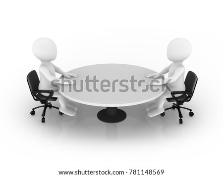 3d small people sitting at round table. Meeting concept.