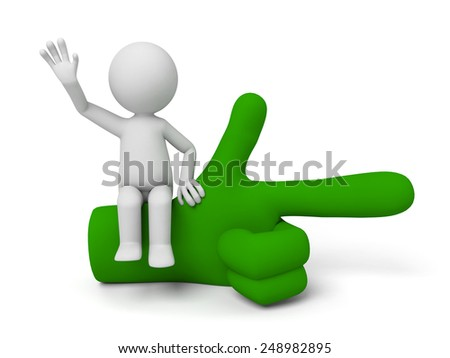3d small people sitting on a green pointing hand. 3d image. Isolated white background.