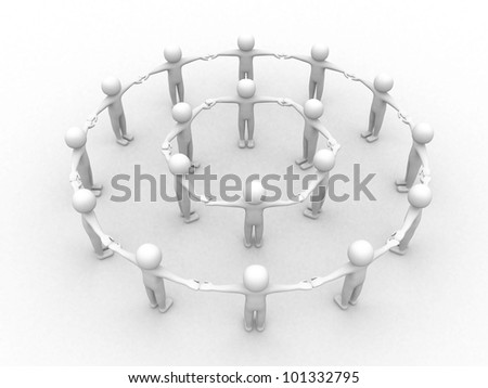 3d small people.Social network concept. 3d render illustration - stock photo