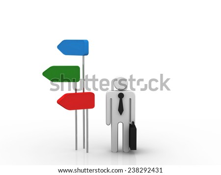 3d small people standing in front of a roadsigns - stock photo