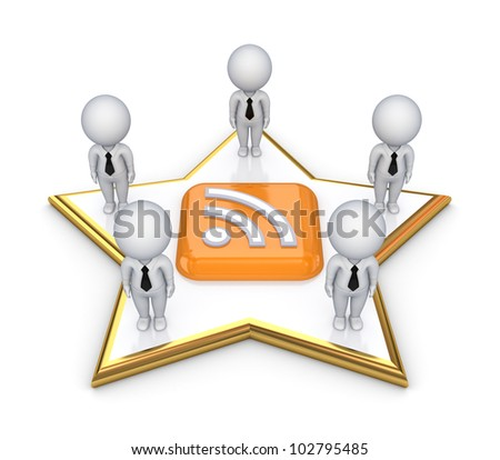 3d small people standing on a star around RSS symbol.Isolated on white background.3d rendered. - stock photo