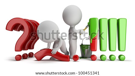 3d small people straighten question marks and exclamation marks painted. 3d image. Isolated white background. - stock photo