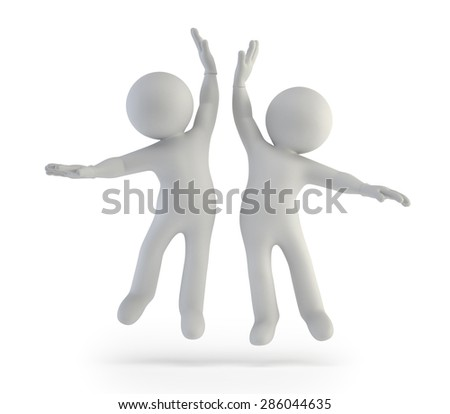 3d small people - success - stock photo