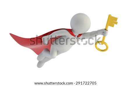 3d small people - super key - stock photo