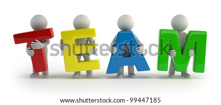 3d small people - team - stock photo