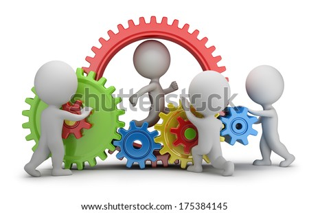 3d small people - team twisting multicolored gears. 3d image. White background. - stock photo