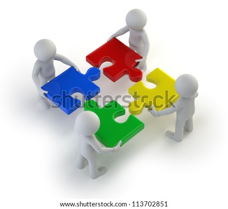 3d small people - team with the puzzles in hands - stock photo