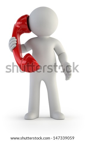 3d small people - Telephone conversation - stock photo