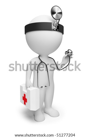 3d small people the doctor with a stethoscope and the first-aid set in hands. 3d image. Isolated white background. - stock photo