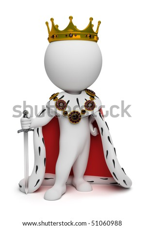 3d small people the king with a sword. 3d image. Isolated white background. - stock photo