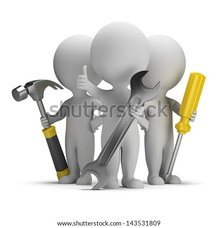 3d small people - three repairman with tools. 3d image. White background. - stock photo