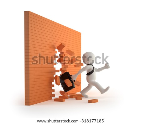 3d small people - through a brick wall - stock photo