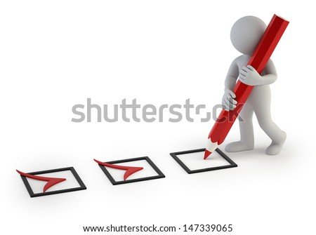 3d small people - tick - stock photo
